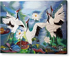 Singing In The Rain Hand Embroidery Acrylic Print by To-Tam Gerwe