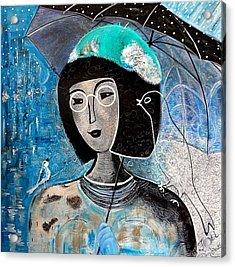 Singing Under The Rain Acrylic Print by Tatiana Tatti Lobanova