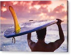 Single Fin Surfer Acrylic Print by Sean Davey