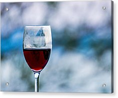 Single Glass Of Red Wine On Blue And White Background Acrylic Print by Photographic Arts And Design Studio