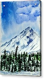 Snow Scenes In Watercolors Acrylic Print featuring the painting Single Peak  by Eunice Miller