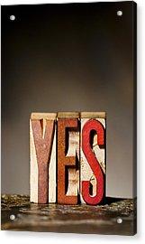 Single Word Yes  Acrylic Print by Donald  Erickson