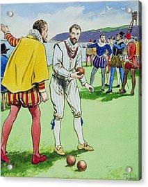 Sir Francis Drake Playing Bowls Acrylic Print by Trelleek