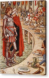 Sir Galahad Is Brought To The Court Of King Arthur Acrylic Print by Walter Crane
