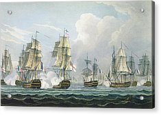 Sir Richard Strachans Action After The Battle Of Trafalgar Acrylic Print by Thomas Whitcombe