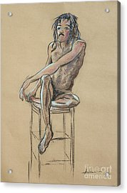 Sitting Man Holding His Foot Acrylic Print by Asha Carolyn Young