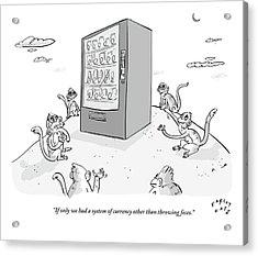Six Monkeys Surround A Vending Machine On Top Acrylic Print by Farley Katz
