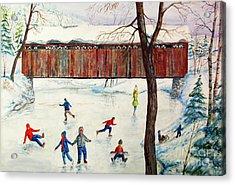 Skating At The Bridge Acrylic Print by Philip Lee