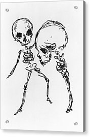 Skeletons, Illustration From Complainte De Loubli Et Des Morts Acrylic Print by Jules Laforgue