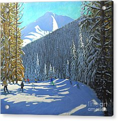 Skiing  Beauregard La Clusaz Acrylic Print by Andrew Macara