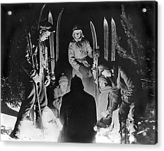 Skiing Party Camps In Siberia Acrylic Print by Underwood Archives