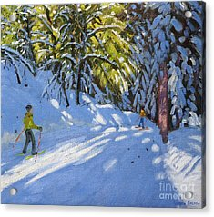 Skiing Through The Woods  La Clusaz Acrylic Print by Andrew Macara