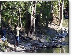 Skipping Stones Impressionist Fall Series #4  Acrylic Print by Sharon McLain