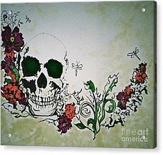 Skull Flower Mural Acrylic Print by Pete Maier