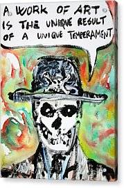Skull Quoting Oscar Wilde.1 Acrylic Print by Fabrizio Cassetta