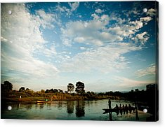 Sky And River Wuth Boat Acrylic Print by Raimond Klavins