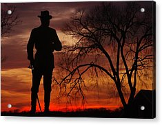 Sky Fire - Brigadier General John Buford - Commanding First Division Cavalry Corps Sunset Gettysburg Acrylic Print by Michael Mazaika