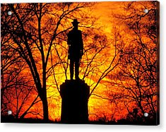 Sky Fire - Flames Of Battle 50th Pennsylvania Volunteer Infantry-a1 Sunset Antietam Acrylic Print by Michael Mazaika