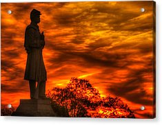 Sky Fire - West Virginia At Gettysburg - 7th Wv Volunteer Infantry Vigilance On East Cemetery Hill Acrylic Print by Michael Mazaika