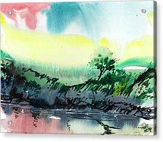 Sky N Lake Acrylic Print by Anil Nene