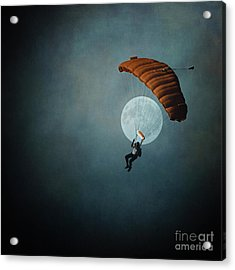 Skydiver's Moon Acrylic Print by Trish Mistric