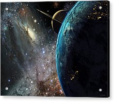 Galaxies Collide Over Terraformed Titan Acrylic Print by Don Dixon