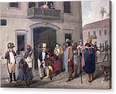Slaves In Brazil Hand-coloured Engraving Acrylic Print by English School