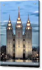Slc Temple Blue Acrylic Print by La Rae  Roberts