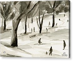 Sledding In The Snow Watercolor Painting Of Central Park Nyc Acrylic Print by Beverly Brown Prints