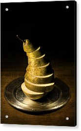 Sliced Pear On The Silver Plate Acrylic Print by Jaroslaw Blaminsky