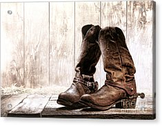 Slouch Cowboy Boots Acrylic Print by Olivier Le Queinec