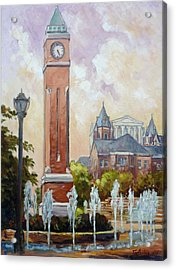 Slu Clock Tower In St.louis Acrylic Print by Irek Szelag