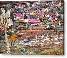 Slum On Hill  Acrylic Print by Basant Soni