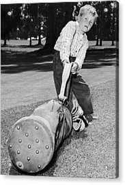 Small Boy Totes Heavy Golf Bag Acrylic Print by Underwood Archives