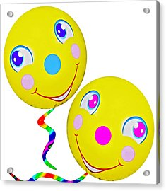 Smiley Face Balloons Acrylic Print by Susan Leggett