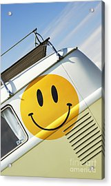 Smiley Face Vw Campervan Acrylic Print by Tim Gainey
