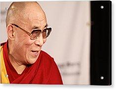 Smiling Dalai Lama Acrylic Print by Kate Purdy