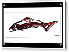 Smiling Salmon Acrylic Print by Speakthunder Berry