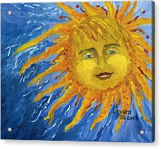 Smiling Yellow Sun In Blue Sky Acrylic Print by Lenora  De Lude