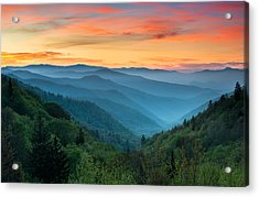 Smoky Mountains Sunrise - Great Smoky Mountains National Park Acrylic Print by Dave Allen