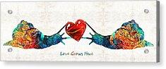 Snail Art - Love Grows Here - By Sharon Cummings Acrylic Print by Sharon Cummings