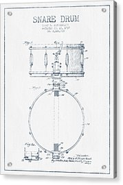 Snare Drum Patent Drawing From 1939 - Blue Ink Acrylic Print by Aged Pixel