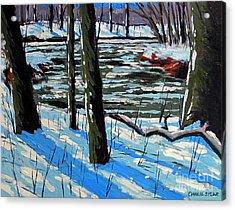 Snow Back On The Eel Acrylic Print by Charlie Spear
