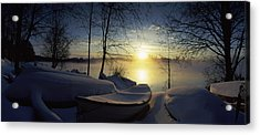 Snow Covered Boats At The Riverside Acrylic Print by Panoramic Images