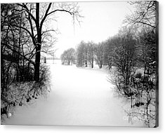 Snow Covered Herrick Lake 1981 Acrylic Print by ImagesAsArt Photos And Graphics