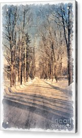 Snow Covered New England Road Acrylic Print by Edward Fielding