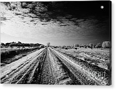snow covered untreated rural small road in Forget Saskatchewan Canada Acrylic Print by Joe Fox