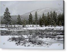 Snow-dusted Gibbon Meadows In Yellowstone Acrylic Print by Bruce Gourley