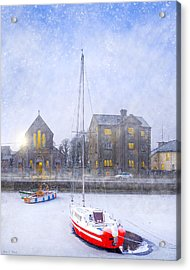 Snow Falling On The Claddagh Church - Galway Acrylic Print by Mark E Tisdale