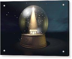 Snow Globe Nativity Scene Night Acrylic Print by Allan Swart